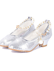 cheap -Girls' Shoes Paillette Spring Fall Novelty Comfort Flats Pearl Buckle for Party & Evening Dress Gold Silver Pink