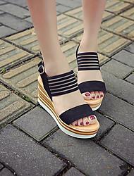 preiswerte -Damen Schuhe PU Sommer Komfort Sandalen Walking Keilabsatz Offene Spitze Schnalle Für Schwarz Beige