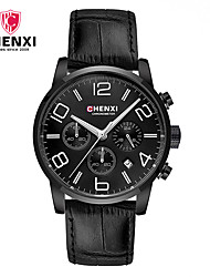 cheap -Men's Wrist Watch Chinese Calendar / date / day / Creative / Cool Leather Band Charm / Luxury / Casual Black / Brown