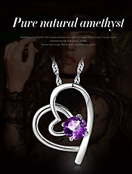 cheap -Women's Heart Synthetic Amethyst Crystal Silver Plated Pendant Necklace  -  Classic Heart Purple Necklace For Party Stage