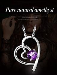 Femme Pendentif de collier Améthyste Forme de Coeur Cristal Plaqué argent Cœur Classique Bijoux Pour Soirée Scène