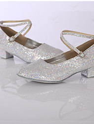 Women's Modern Glitter Leatherette Sneaker Indoor Sparkling Glitter Customized Heel Silver Customizable