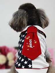 Cachorro Colete Roupas para Cães Algodão Plumagem Inverno Primavera/Outono Casual Estrelas Preto Vermelho Para animais de estimação