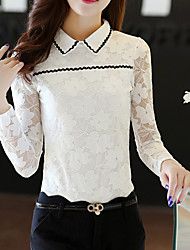 Women's Going out Casual/Daily Simple Fall Winter Blouse,Solid Shirt Collar Long Sleeves Polyester Medium