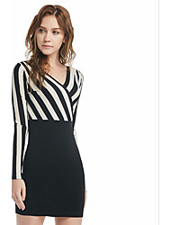 Women's Holiday Club Bodycon Dress,Striped V Neck Above Knee Long Sleeves Cotton Fall Winter High Rise Micro-elastic Medium