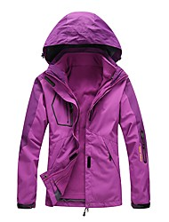 LEIBINDI Women's Hiking 3-in-1 Jackets Outdoor Winter Quick Dry Windproof Rain-Proof Stretchy Top Single Slider Waterproof