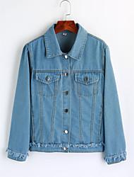 baratos -Mulheres Jaqueta jeans Simples - Sólido