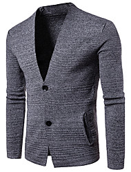 Men's Daily Going out Casual Regular Cardigan,Solid V Neck Long Sleeves Cotton Spring Fall Medium Stretchy