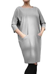 economico -Largo T Shirt Vestito Da donna-Casual Taglie forti Semplice Moda città Tinta unita Rotonda Al ginocchio Manica a 3/4 Poliestere Primavera