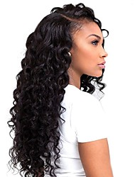 Unprocessed Brazilian Hair Weft with Closure Deep Wave Hair Extensions Four-piece Suit Black