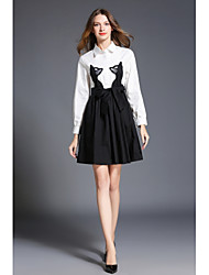 SHE IN SUN Women's Casual/Daily Chinoiserie Swing Black and White Dress,Color Block Shirt Collar Above Knee Long Sleeves Polyester Spring Fall High