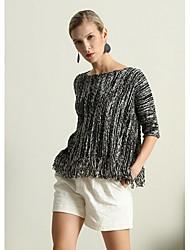 Standard Pullover Da donna-Casual Semplice Con stampe Rotonda Mezza manica Cotone Autunno Medio spessore Media elasticità