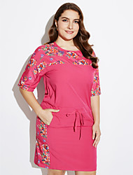 cheap -Women's Plus Size Street chic Dress,Floral Round Neck Above Knee Cotton Summer Mid Rise