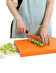 Kitchen Cutting Board 2 in 1 Foldable Chopping Non-slip Food Storage Box Basket Random Color