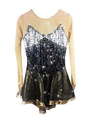 Figure Skating Dress Women's Girls' Ice Skating Dress Black Spandex Rhinestone Sequined High Elasticity Performance Skating Wear Handmade