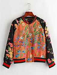 Women's Casual/Daily Vintage Fall Winter JacketFloral Print Stand Long Sleeve Regular Cotton Patchwork