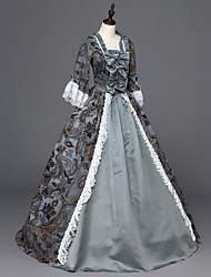 Victorian Rococo Costume Female Party Costume Masquerade Gray Vintage Cosplay Satin Long Sleeves