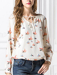 cheap -Women's Daily Going out Cute Casual Summer Fall Blouse,Print V Neck Long Sleeves Polyester Medium