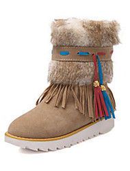 Women's Shoes Suede Fall Winter Comfort Novelty Snow Boots Fashion Boots Bootie Boots Flat Heel Round Toe Booties/Ankle Boots Feather