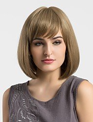 cheap -Women Synthetic Wig Capless Medium Straight Light Brown Bob Haircut With Bangs Natural Wigs Costume Wigss