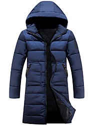 Men's Long Padded Coat,Simple Casual/Daily Plus Size Solid-Cotton Acrylic Polyester Polypropylene Long Sleeves