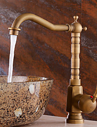 cheap -Antique Centerset Waterfall Ceramic Valve One Hole Single Handle One Hole Antique Copper , Bathroom Sink Faucet