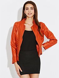 Street chic Fall Leather Jackets,Solid Stand Long Sleeve Black / Orange PU Medium