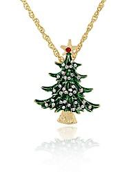 Mulheres Colares com Pendentes Imitação de Diamante Árvore da Vida Liga Moda Clássico Jóias Para Festa de Noite Natal