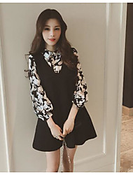 Women's Going out A Line Dress,Print Shirt Collar Above Knee Long Sleeves Others Spring Fall Mid Rise Micro-elastic Medium