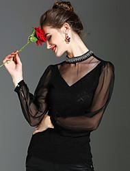 economico -Blusa Per donna Vintage Tinta unita A collo alto