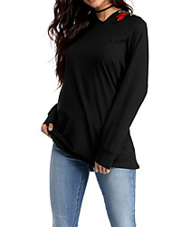 Women's Daily Hoodie Solid Round Neck Stretchy Cotton Long Sleeve Winter