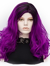 Femme Perruque Synthétique Mi Longue Ondulation profonde Violet Cheveux Colorés Perruque Halloween Perruque Déguisement