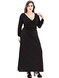Women's Plus Size Casual/Daily Street chic A Line Dress,Solid V Neck Maxi Long Sleeves Polyester Spring Fall High Rise Micro-elastic