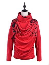 T-shirt Da uomo Casual Semplice Moda città Autunno Inverno,Con stampe A collo alto Cotone Manica lunga Medio spessore