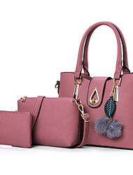 preiswerte -Damen Taschen PU Bag Set Federn / Pelzl Blume(n) Reißverschluss für Formal Ganzjährig Blau Schwarz Rote Rosa Grau