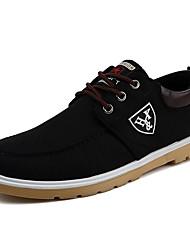 baratos -Homens Sapatos de Condução Lona Primavera / Outono Tênis Preto / Azul Escuro