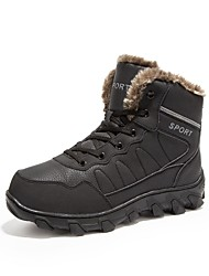 Men's Boots Fluff Lining Comfort Snow Boots Bootie Winter Suede Casual Outdoor Lace-up Flat Heel Brown Black Flat