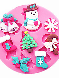 Snowman Snowflakes Christmas Tree Stockings Bells Cake Decorating Tools Diy Silicone Mold Gumpaste