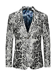 Men's Plus Size Club Street chic Punk & Gothic Spring Fall Blazer,Print V Neck Long Sleeve Regular Cotton Polyester Oversized