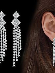 billige -Dame Kvadratisk Zirconium Dråbeøreringe - Kvadratisk Zirconium Dråbe Mode, Elegant Sølv Til Bryllup Fest
