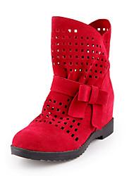 Недорогие -Для женщин Обувь Дерматин Лето Зима Удобная обувь сутулятся сапоги Ботинки На низком каблуке Круглый носок Ботинки Бант Назначение