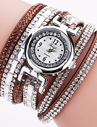 cheap -Women's Simulated Diamond Watch Bracelet Watch Fashion Watch Chinese Quartz Imitation Diamond PU Band Casual Bohemian Elegant Black White