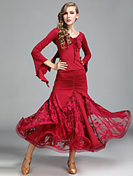 cheap -Ballroom Dance Outfits Women's Performance Lace Ice Silk Pleated Long Sleeve Natural Skirts Tops