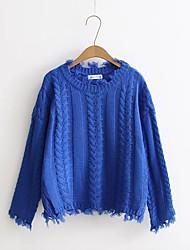 Standard Pullover Da donna-Per uscire Casual Semplice Romantico Tinta unita Girocollo Manica lunga Cotone Altro Primavera Autunno Medio