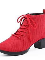 "cheap -Women's Dance Sneakers Breathable Mesh Sneaker Outdoor Cuban Heel Red Black 2"" - 2 3/4"""