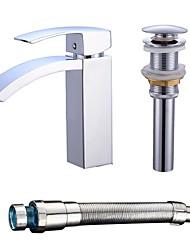 Centerset Waterfall Ceramic Valve Single Handle One Hole Chrome , Bathroom Sink Faucet