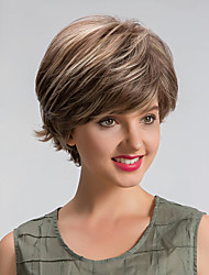 Women Synthetic Wigs Capless Short Straight Medium Brown/Strawberry Blonde African American Wig Highlighted/Balayage Hair Natural Wig