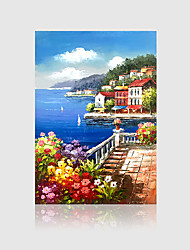 cheap -Hand-Painted Modern Vertical Panoramic,Nature Inspired One Panel Canvas Oil Painting For Home Decoration