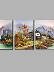 cheap -Hand-Painted Travel Horizontal Panoramic,Artistic Nature Inspired Rustic Casual Birthday Modern