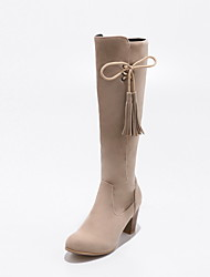 Women's Shoes Nubuck leather Leatherette Fall Winter Fashion Boots Boots Chunky Heel Round Toe Knee High Boots Bowknot Tassel(s) Zipper